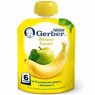 ГЕРБЕР пюре Яблоко банан 90г.