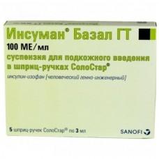 Инсулин Инсуман Базал ГТ сусп. 100 ме/мл фл.шпр-руч солостар 3мл №5